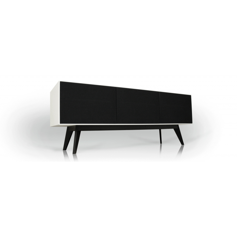 Tv-bänk med tygluckor. Ett alternativ till Unnu och Clic. Enastående kvalitet till rätt pris. Dominator M2