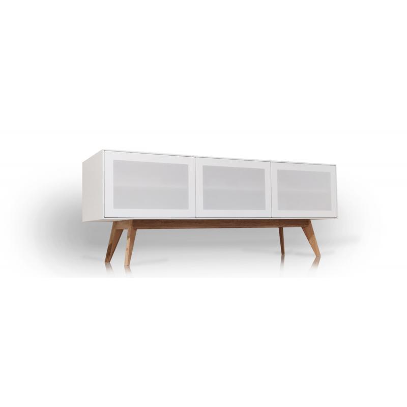 Tv-bänk med vita tygluckor. Ett alternativ till Unnu och Clic. Enastående kvalitet till rätt pris. Dominator M2