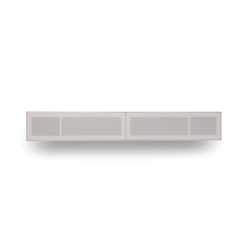 Vägghängd tv-bänk med vita tygluckor